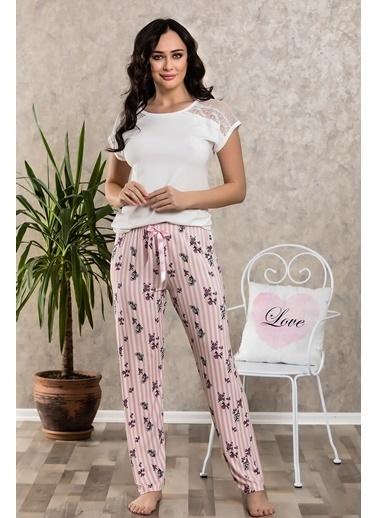Lingabooms Çiçekli Çizgili Dantelli Pijama Takım Pembe